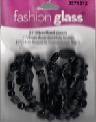 "21"" 54CM Black Mixed Shapes Beads - Fashion Glass by Cousin - #3571812"