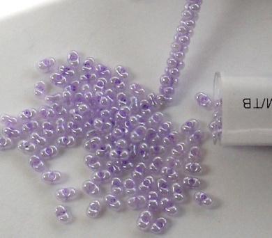 Lilac Purple Pearl Ceylon 2x4mm 6/0 Peanut Farfalle Butterfly Seed Beads 23 Gramme Tube