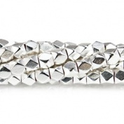 Sterling Silver plated Copper Bead Faceted Nugget 4mm, Hand Polished