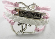 Vintage Silver Tone Infinity Best Friend Heart Pink Rope Knit White Leather Bracelet