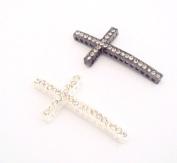 Silver and Crystal Sideways Cross