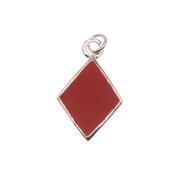 Silver Plated With Enamel Red 'Diamonds' Playing Card Suit Charm