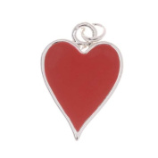 Silver Plated With Enamel Red Hearts Playing Card Suit Charm