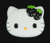 LOVEKITTY -- 1x Large Kitty Face Resin Cabochon - Black Strawberry
