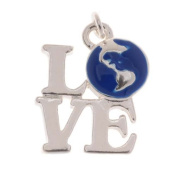 "Silver Plated Charm With Blue Enamel - ""LOVE"" Earth 18.5mm"