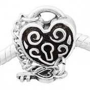Antique Silver Lock and Key Charm Spacer Bead Fits European Pandora Troll Pugster Other Type Bracelet
