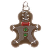 Silver Plated With Enamel - Gingerbread Man Charm 23mm