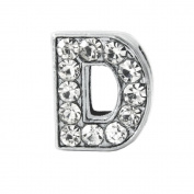 "12x Rhinestone Slide Charm, Letter ""D"",8mm"