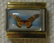 9mm Italian Charm... Butterfly with Gold Coloured Rails