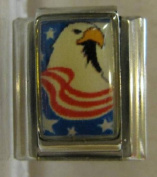 9mm Italian Charm... Eagle With American Stripes & Stars
