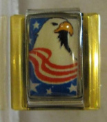 9mm Italian Charm... Eagle With American Stripes & Stars with gold coloured rails