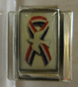 9mm Italian Charm... Rememberance Ribbon with American Flag and White Dove