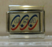 9mm Italian Charm... USA in red white & blue ovals