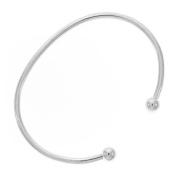 Silver Tone Bangle Cuff Bracelet For Pandora or Biagi Beads Screw End Small