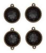 Blue Moon Beads Metal Charms- Round Black Acrylic, Oxidised Brass- 4 Pack