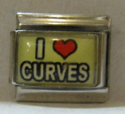 9mm Italian Charm... With Message... I Heart Curves
