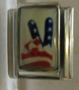 9mm Italian Charm... Peace Sign With the American Flag