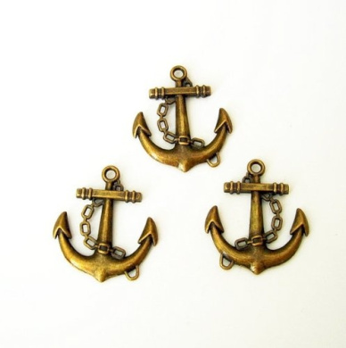 BeadsTreasure 5 Pcs Anchor Pendant Charm Antiqued Bronze Double Sided Jewellery Making Findings.