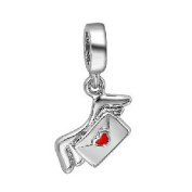 Red Heart Love Envelope With Wing Dangle Charm