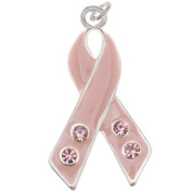 Silver Plated Pink Enamel Awareness Ribbon Charm Adorned With. ELEMENTS Crystal 27mm