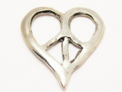 Peace Sign Heart American Made Pewer Charm