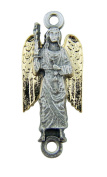 Religious Gift Tu Tone Gold Plate over Silver Base Archangel Saint St Michael Rosary Bead Medal