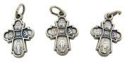Jewellery Making Charms Lot of 3 Four 4 Way Cross with Dove 1.9cm Silver Mini Miraculous Medal