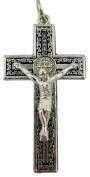 Saint St Benedict Medal 4.4cm Black Enamel Filigree Crucifix Pendant Rosary Cross