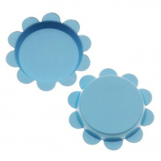 New Light Blue Flower Bottle Caps Craft Scrapbook Jewellery No Liners 25mm