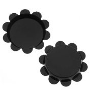 New Black Flower Bottle Caps Craft Scrapbook Jewellery No Liners 25mm