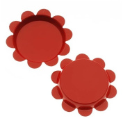 New Red Flower Bottle Caps Craft Scrapbook Jewellery No Liners 25mm