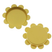 New Yellow Flower Bottle Caps Craft Scrapbook Jewellery No Liners 25mm