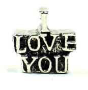 "Plated ""I Love You"" European Style Bead Charm"