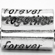 """"""" Forever Together """"Antique'd Silver Bead Charm Spacer Pandora Troll Chamilia Biagi Bead Compatible"""