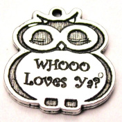 Adorable Whoo Loves Ya. Owl Pewter Charm