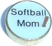 Softball Mom Floating Locket Charm