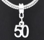 European Style Happy 50th Birthday Dangle Charm Bead. Compatible With Troll, Zable, Baigi, Chamilia, And Many More Charm Bracelets.