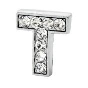 """12x Alphabet Slide Charm, Letter """"T"""", 8mm"""