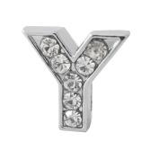 "12x Alphabet Slide Charm, Letter ""Y"", 8mm"