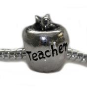 "Apple Shaped ""Teacher"" Charm Bead for Pandora, Biagi, Chamilia, Troll and More Bracelets"