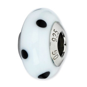 Sterling Silver Reflections White With Black Dots Italian Murano Bead Charm - JewelryWeb