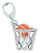Genuine Zable (TM) Product. 925 Sterling Silver Enamel Basketball Clip-on Bead Charm.  .  d.