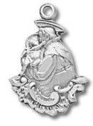 Sterling Silver St. Anthony Charm with 46cm Stainless Steel Chain in Gift Box, Patron Saint of Lost Articles & the Poor