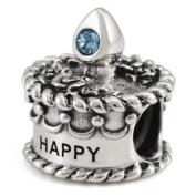 Ohm March Birthstone Crystal Birthday Cake European Bead