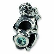 Sterling Silver Reflections Angel Bead with Blue CZ - December Birthstone