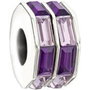"""Authentic Chamilia Charm """"Double Baguette"""" (Purple) 2083-0402"""