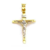 14K Gold Crucifix Charm INRI Jesus Cross 26mm