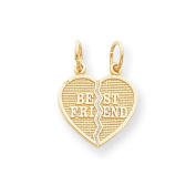 10k Yellow Gold 2 Piece Break-Apart Best Friend Heart Pendant. Metal Wt- 1.5g