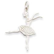 14k White Gold Satin Polished Ballerina Charm