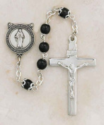 """Sterling Silver Black First Communion Rosary 5mm Bead 1 3?8"""" Crucifix Gift Boxed"""